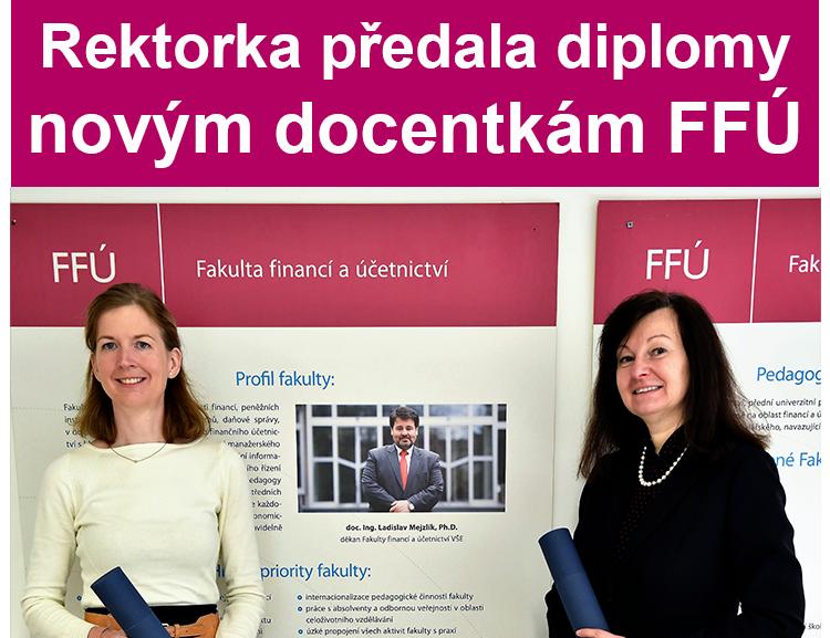Rektorka předala diplomy novým docentkám FFÚ