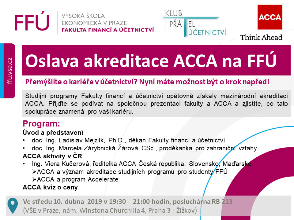 Oslava akreditace ACCA na Fakultě financí a účetnictví