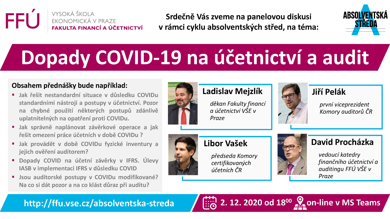 """Absolventská středa FFÚ """"Dopady COVID-19 na účetnictví a audit"""""""