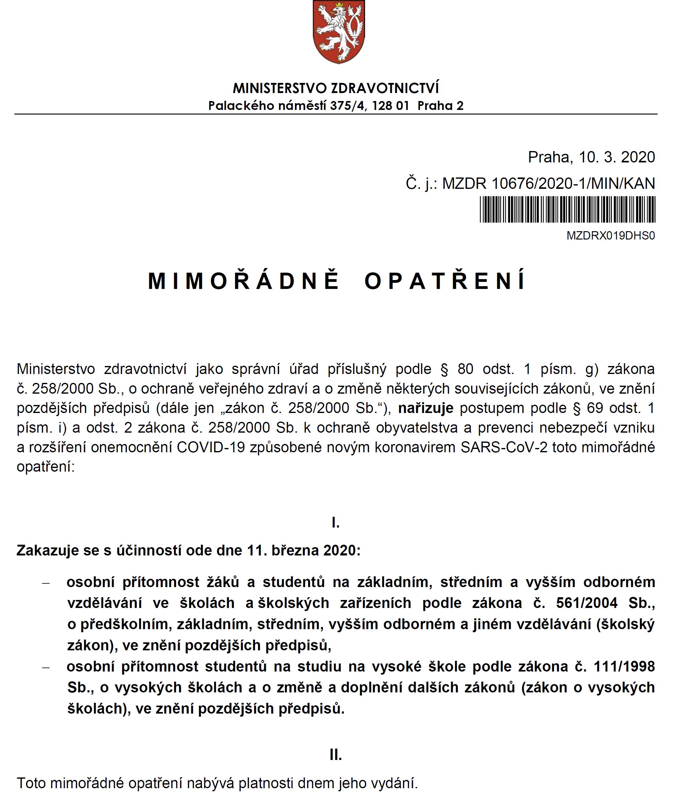 Realizace mimořádného opatření Ministerstva zdravotnictví na VŠE v Praze